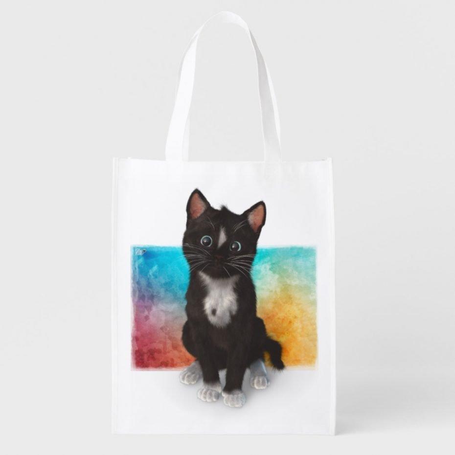 shop cute kitty cat - adorable head tilt on watercolor backgorund items
