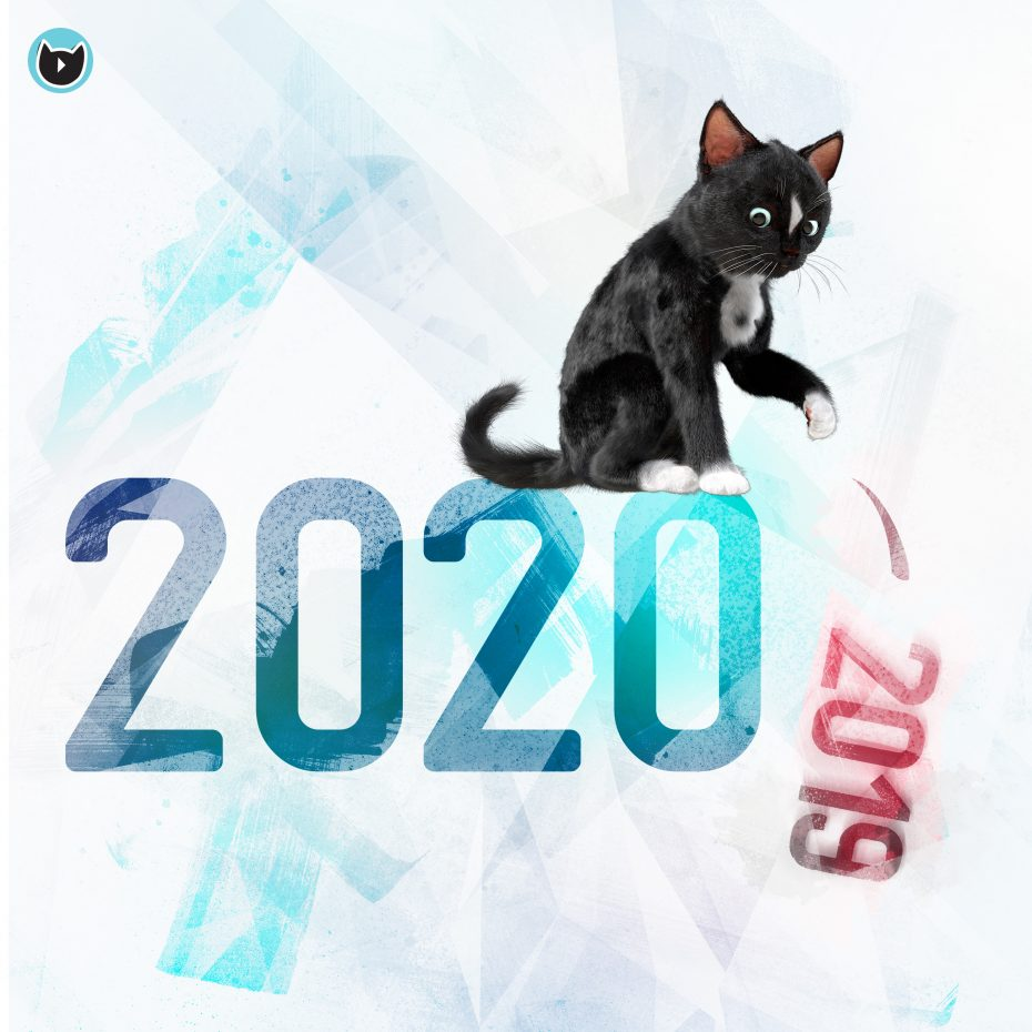 Happy New Year 2020, Felini the cat pushing 2019 off the table