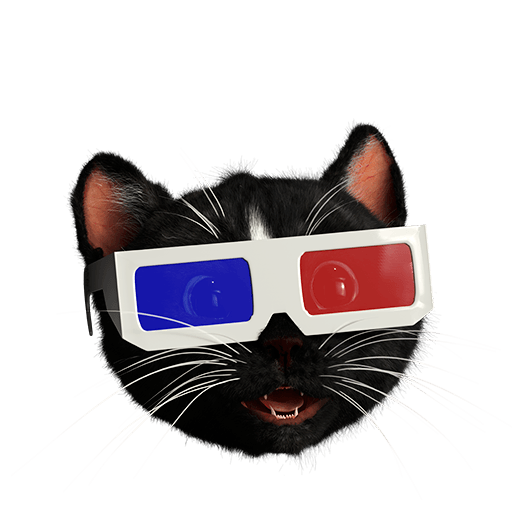 Black Cat Head wearing 3D glasses watching a movie