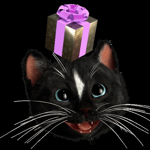 Black Cat Felini looking up ad golden present