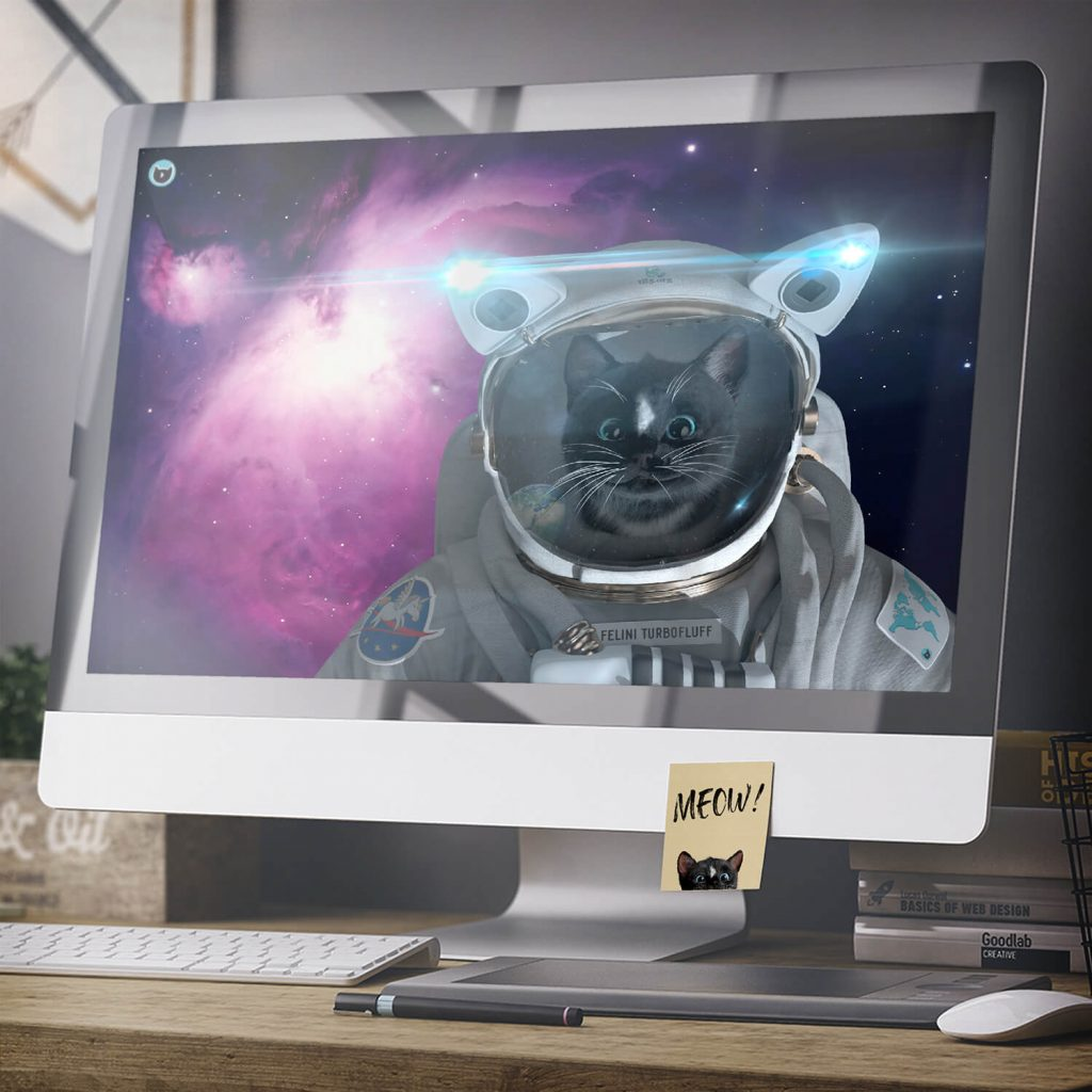 Felini the Kitty Astro Cat in Space Suit - image as wallpaper background on Apple monitor