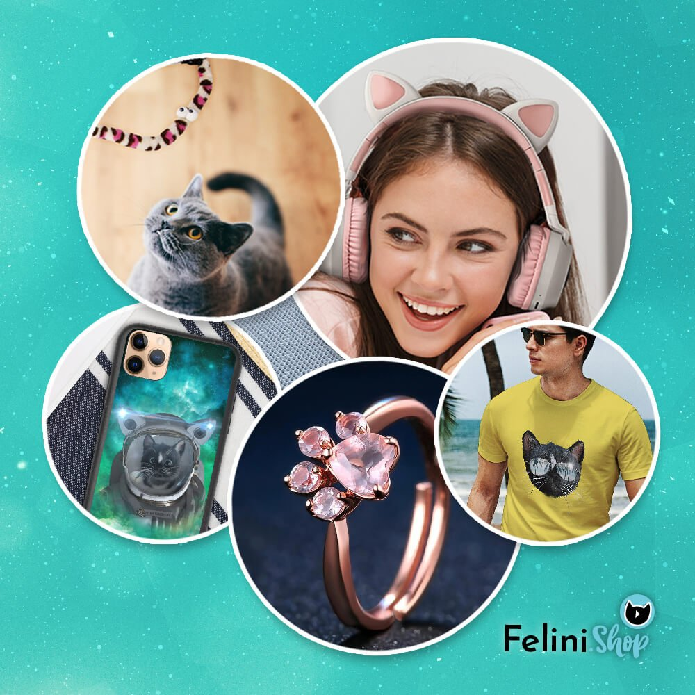 Felini Shop Items Preview Image of cat toy, cat headphones, phone caes, ring and cat t-shirt