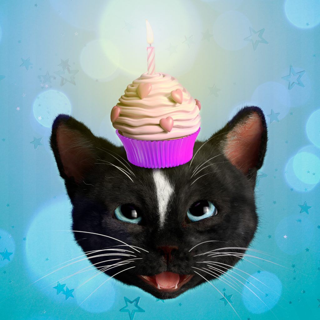Felini the Kitty with Birthday Cupcat and Candle on his Head on blue background