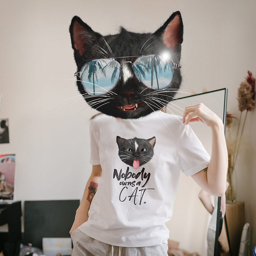 Felini Kitty is wearing a cat shirt with Felini sticking tongue out saying Nobody Owns A Cat!