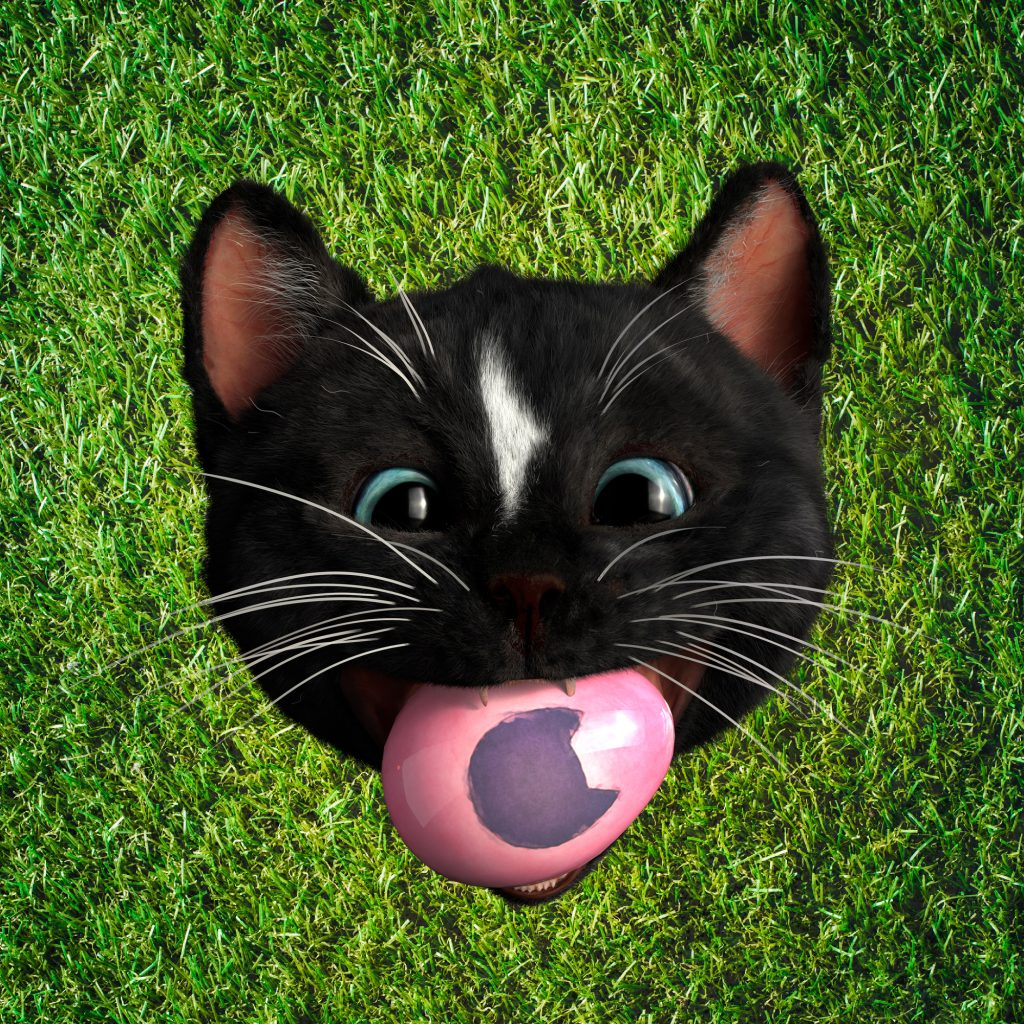 Felini Kitty With Big Easter Egg in Mouth on green Background
