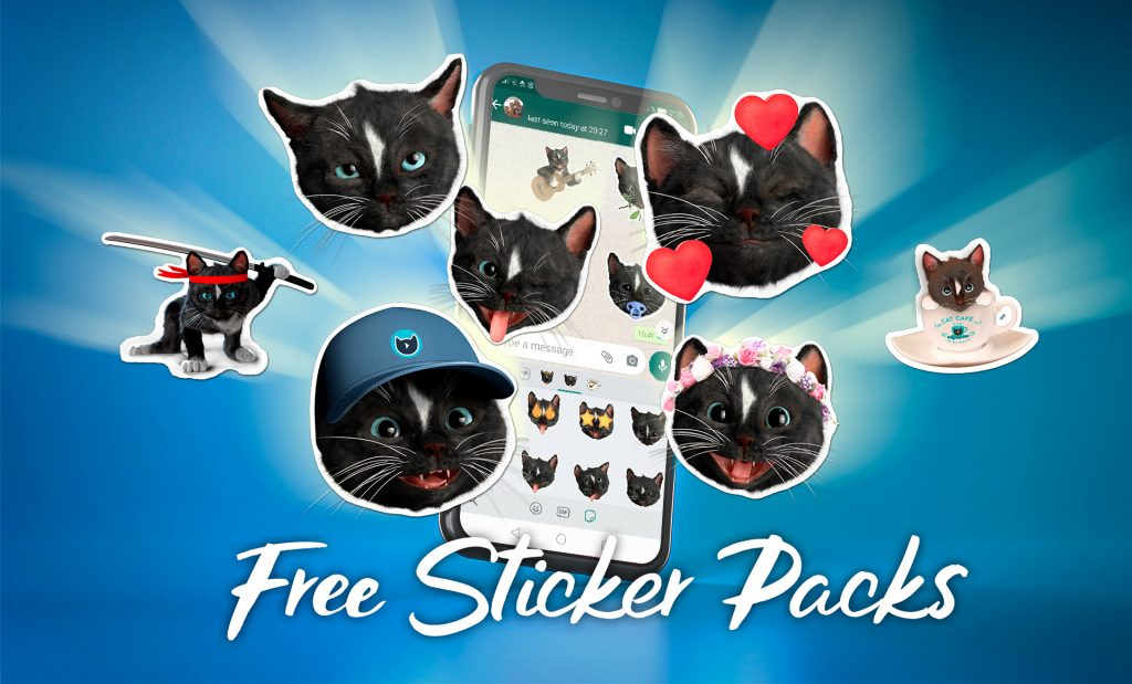 Felini Kitty cat stickers with smart phone on blue background